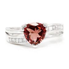 Trilliant Pink Tourmaline Wave Ring with Diamonds 18K White Gold 2.00ctw Nissko