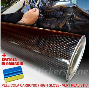 Pellicola adesiva CARBONIO NERO lucido 5D cm 150x400 car wrapping auto moto