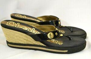 Women's Skechers Black Wedge Thong Flip Flop Sandals