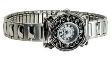 CHANTILLY:WOMEN'S ANTIQUE MARCASITE SILVER FINISH CASE STRETCH BAND QUARTZ WATCH