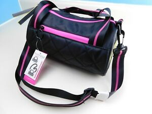 Rampage Small Purse Black/Pink/Yellow Mini Duffle Shoulder Bag NWT Spellout