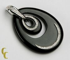 Women's 18k White Gold Oval Shaped Black Onyx & Diamond Pendant
