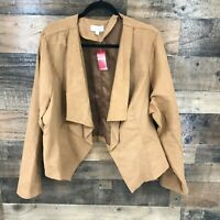 New Avenue Women's Brown Fauxvsuede Open Front Waist Length Jacket Top Size 22/2