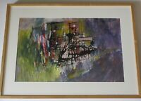 OSAMA KITAMURA PAINTING ABSTRACT EXPRESSIONIST JAPANESE AMERICAN CALIFORNIA MOD
