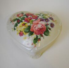 Heart Floral Music Box Trinket Jewelry Porcelain Flowers Footed Daughter Poem