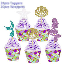 48pcs/Set Glitter Mermaid Cupcake Wrappers Cake Toppers Birthday Party Supplies