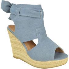 Womens Ladies High Wedge Espadrille Tie Up Platform Sandals Summer Party Shoes