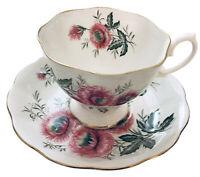 Royal Albert Footed Tea Cup & Saucer Pink Chrysanthemum Bone China Gold Trim