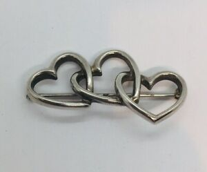 Tiffany & Co. Vintage Authentic Sterling Silver Triple Heart Pin