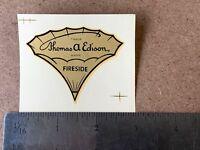 Original NOS Thomas A. EDISON Fireside Decal CYLINDER METAL HORN PHONOGRAPH