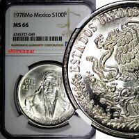 Mexico ESTADOS UNIDOS MEXICANOS Silver 1978 Mo 100 Pesos NGC MS66 GEM KM# 483.2
