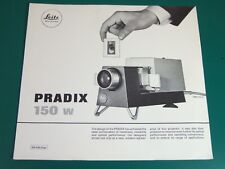 LEITZ LEICA pradix 150 W Projecteur 35 mm ventes Feuille anglais août 1971