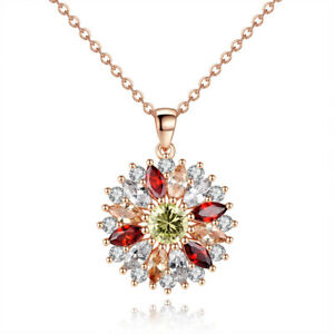 Ladies women sunflower multi colour stone zircon pendant necklace FREE DELIVERY