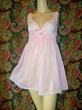 Vintage Hollywood Vassarette Pink Lacy Nylon Mini Empire Babydoll Nightgown 34