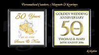 Golden Wedding 50th Anniversary Personalised Drinks Coaster Anniversary Gift