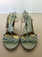 FORNARINA WOMEN'S WHITE AND GREEN STRIPE STRAPPY HIGH HEEL SHOES 39