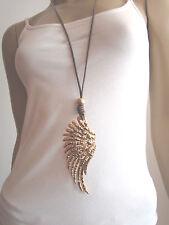 Modekette Damen Kette Leder lang Lagenlook  XL Anhänger Braun Gold Flügel Trend