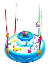 Kinder Gesellschaftsspiel Angel Spiel Fische Hai Angeln Spielzeug LED Musik Blau