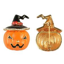 Halloween Costume Rhinestone Enamel Witch Hat Pumpkin Women Brooch Pin Frugal