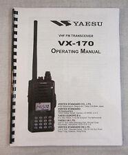 Yaesu VX-170 Operating Manual - Premium Card Stock Covers & 28 LB Paper!