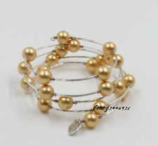 Tibet Silver Handmade Southsea Yellow Shell Pearl Long Bracelet Chinese Export