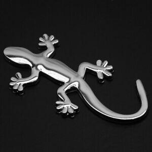 1x Silver 3D Gecko Design Lizard Metal Car Window Alloy Badge Emblem Car Sticker