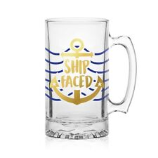 Nautical Ship Faced Glass Beer Tankard. 1 Pint. Ideal for boat and Yacht owners!