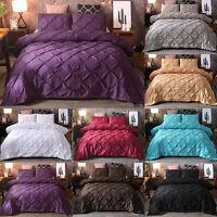 3PCS Luxury Pinch Pleat Pintuck Duvet Qulit Cover Pillowcase Bedroom Bedding Set
