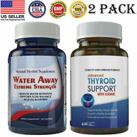 Diuretic Water Away 700mg Pills Thyroid Support with Iodine Weight Loss Caps 2PK