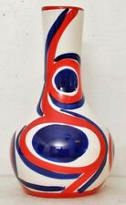 Hand Painted Vase Abstract Red White Blue Weird Eyes Swirl Pattern Signed USA