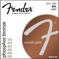 Fender 60L Phosphor Bronze Light Acoustic Guitar Strings (12-53)