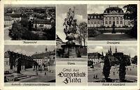 Fulda s/w Mehrbild AK 1957 Teilansicht Flora Blick vom Kurfürst Schloß Orangerie