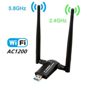 1200Mbps Dual Band 2.4GHz/5.0Ghz 802.11ac Wireless Wifi USB 3.0 Adapter Antenna