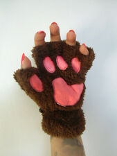 Mitaines peluche fourrure pattes animal chat marron chocolat coussinets roses