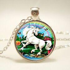 UK WHITE RAINBOW UNICORN PENDANT NECKLACE Jewellery Gift Idea Womens Girls Kids