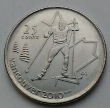 Canada 25 Cents 2009. Olympic. Skiing. Quarter dollar coin. Vancouver 2010
