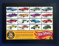 Hot Wheels Redline 1968 Vintage Póster Enmarcado A3 Tamaño Shop Expositor