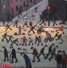 Original BEST Oil Painting Noted Artist James Downie : Busy Northern People