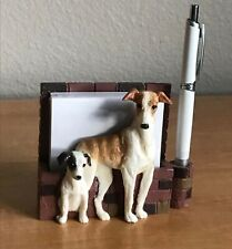 Brindle Greyhound or Whippet with Puppy Desk or Magnet Memo Note Holder, Nib