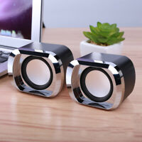 Mini Wired Dual Stereo Laptop Speakers USB Powered Bass Clear For Music Movies