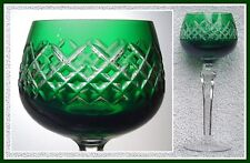 EMERALD GREEN Wine Goblet Hock Glass CUT TO CLEAR LEAD CRYSTAL Lausitzer GERMANY