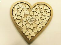 Personalised glitter gold wedding heart shaped guest book drop box 56 hearts