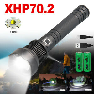 900000LM USB Rechargeable XHP70.2 LED Flashlight Hunting Torch 3-Modes Spotlight