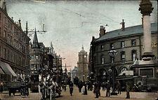 Sheffield Irland Vintage Postcard ~1910 Street Scene Tram Straßenbahn Fuhrwerk
