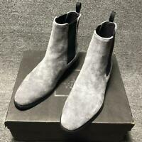 New Mens Casual Slip On Ankle Chelsea Boot Suede Leather Pointy Toe Dress Shoes