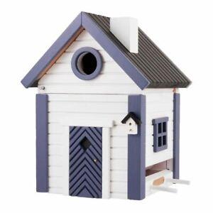 DESIGNER WOODEN BIRD HOUSE + FEEDER - SKY WHITE + BLUE