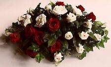 Wedding Silk Red Ivory Rose Eucalyptus Top Table Artificial Floral Arrangement