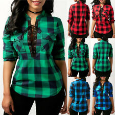 Women Lace Up Plaid Checked Tee T-Shirt Ladies Casual Shirts Tops Blouse V Neck