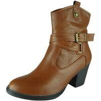 Womens Ankle Cowboy Boots Zip New Buckle Ladies Fashion Casual Comfy Shoes Size
