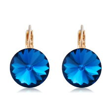 Ear Piercing Stud 18K Rose Gold Plated Swarovski Crystal Blue Sapphire Earrings